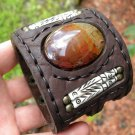 Handmade signed Bracelet  Buffalo Leather bones Dragon Eye agate stone