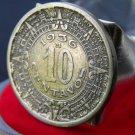 Vintage Mexican Coin10 Centavos Aztec calendar Adjustable handmade ring