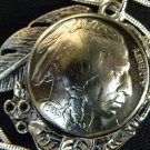 Vintage Handcrafted Artisan Necklace US Real Buffalo Indian Nickel coin