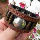 Signed Bracelet Buffalo Leather wristband Buffalo Indian Nickel coin Native styl