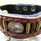 Navajo native Indian style cuff bracelet wristband Genuine Bison Leather Buffalo