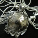 Handmade 1937 Real Buffalo Indian Head coin Necklace Pendants  Silver chain