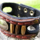 Handmade Bracelet  Buffalo Leather wristband Indian Nickel bone tied w sinew.