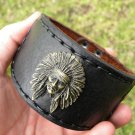 Cuff  handmade signed Bracelet  Genuine Buffalo Leather  Indian Chief Ketoh