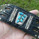 Authenitic  Ketoh cuff leather Bracelet  STurquoise  Native Indian B&N&NASTAGIO