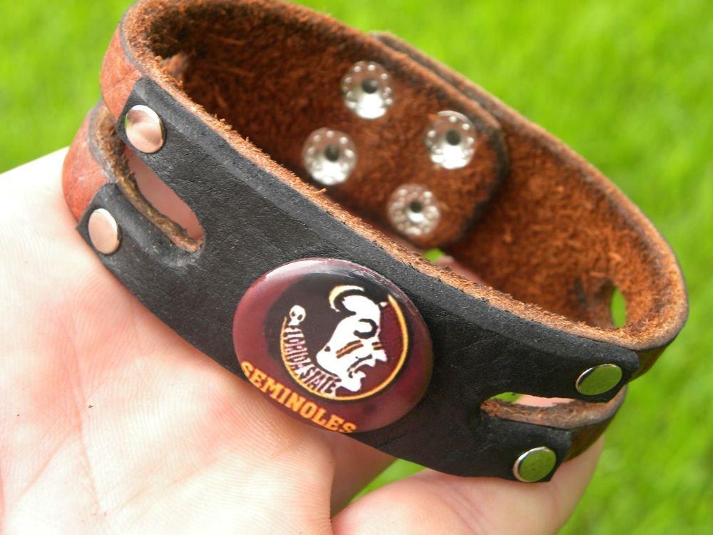 Handmade Cuff  Bracelets  Buffalo Leather Florida State Seminoles logo