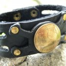 Handmade cuff Bracelet American Bison Leather Old Isreal Coin Signed