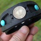 Buffalo leather handmade cuff customize bracelet Turquoise  Aztec calendar coin
