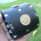 Handcrafted Cuff Indian style signed bracelet Vintage Buffalo Indian coins