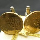Handmade Cuff links Israel coin ten Agorot Holy Land Jerusalem Menorah Jewish