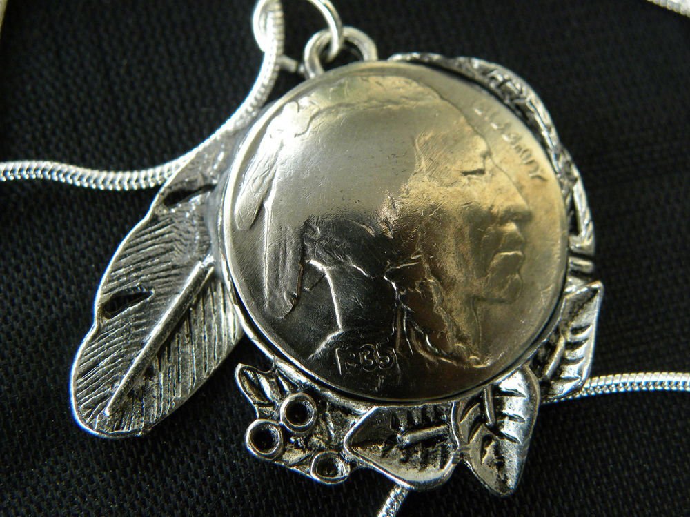 Authentic Buffalo Indian Head Nickel coin handmade necklace silver chain
