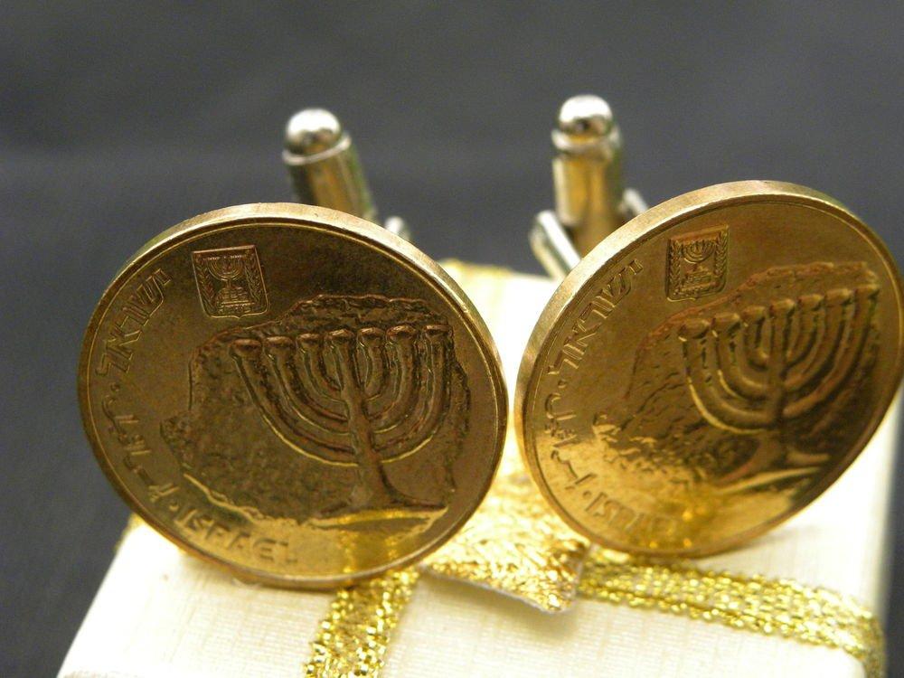 Handmade Cuff links Israel coin ten Agorot Holy Land Jerusalem Menorah Jewish mg