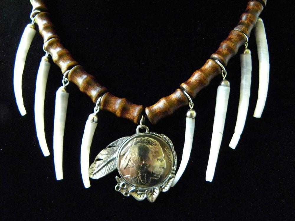 Necklace Real Buffalo Indian Head Nickel coin handmade dentalium shell  choker