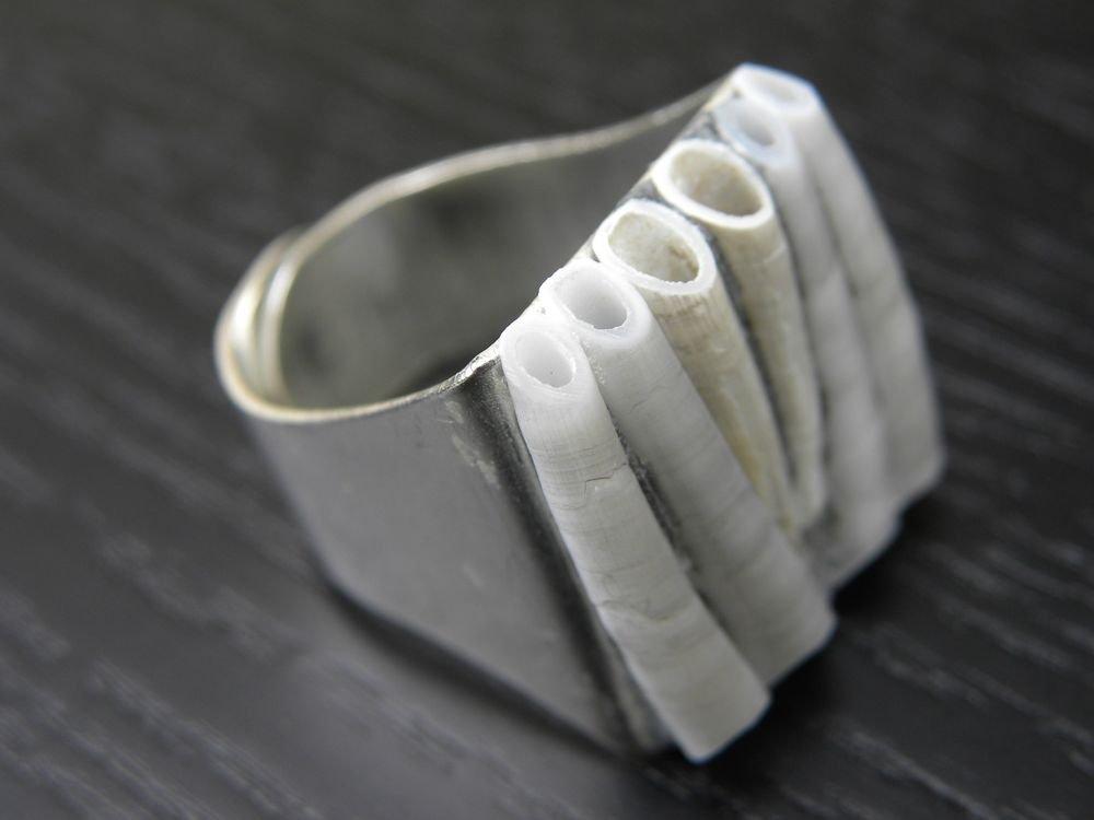 Adjustable ring Handmade Dentalium Shell ring Indian style no stone mixed metals