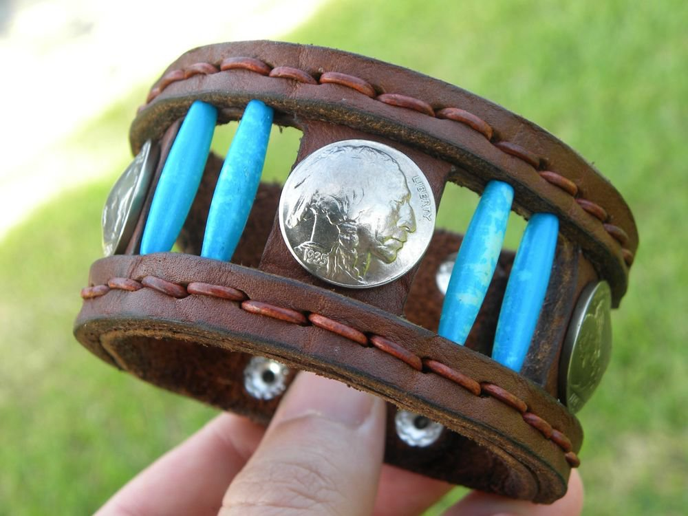 Handmade Rockstar cuff wristband Indian coin Turquoise Navajo native style ketoh