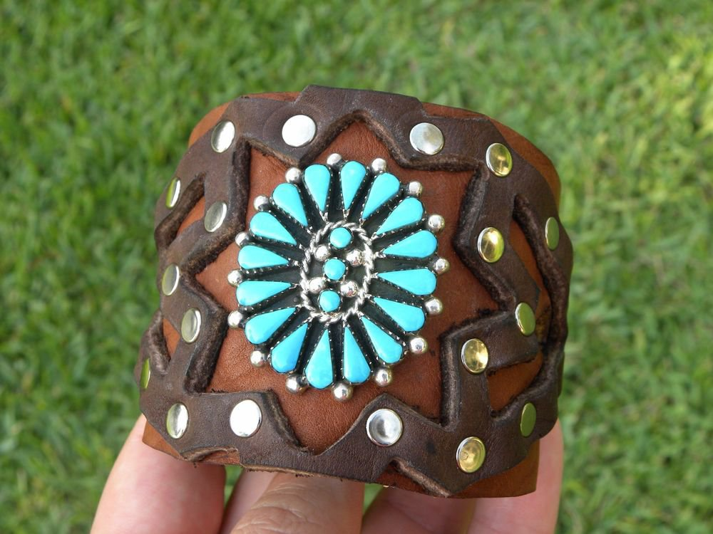 Authentic Native Indian Ketoh Bracelet  Rockstar silver turquoise signed Yazzie