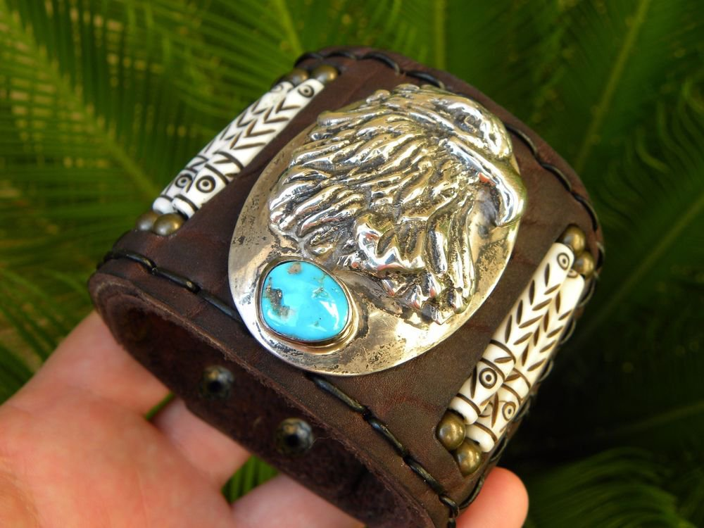Rockstar Bracelet Sterling Turquoise signed Authentic Native Indian style