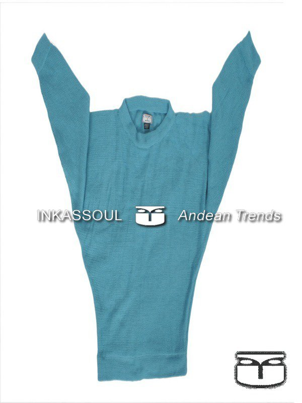 INKASSOUL SWEATER - SWE020 - BR-602 (light turquoise/skyblue) - Medium