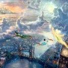 Tinkerbell And Peter Pan Disney Painting Art 32x24 Print Poster