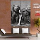 Dovima With Elephants Paris 1955 BW Photo HUGE GIANT Print Poster