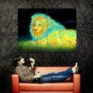 Colorful Lion Night Animal Art Huge 47x35 Print POSTER