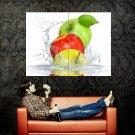 Apples Water Splashes Fruits Macro Food Huge 47x35 Print Poster