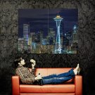 Seattle Space Needle Night Huge 47x35 Print Poster