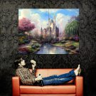 Cinderella Castle Disney Painting Art Huge 47x35 Print Poster