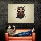 Coffee Cup Beans Owl Cool Art Style Huge 47x35 Print POSTER