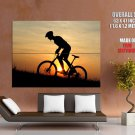 Mountain Bike Silhouette Sunset HUGE GIANT Print Poster