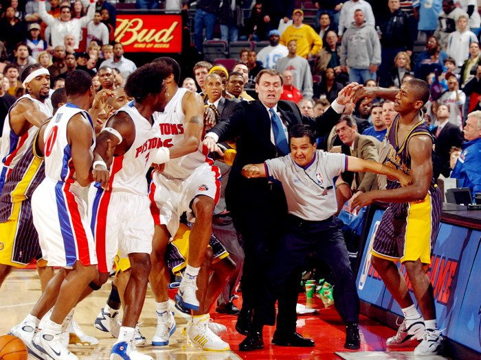 Fight Ron Artest Vs Ben Wallace Pistons Pacers NBA 32x24 POSTER