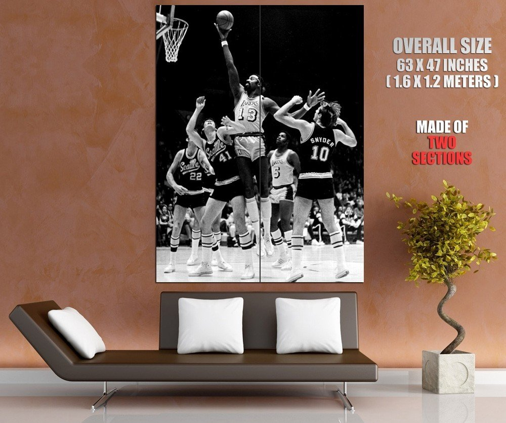 Wilt Chamberlain Los Angeles Lakers Bw Nba Basketball Huge Giant Poster