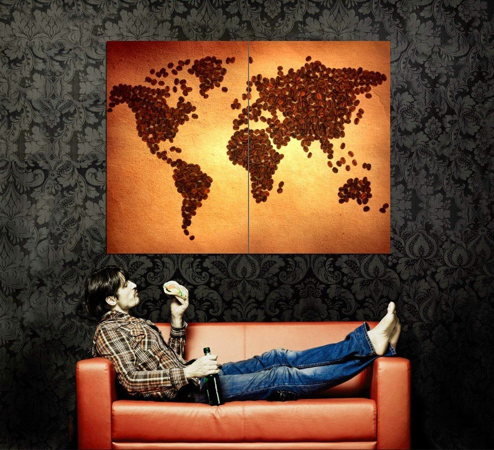 World Map Coffee Beans Cool Huge 47x35 Print POSTER