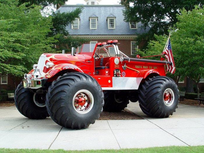 Firefighter Monster Truck Car Bigfoot 16x12 Print POSTER