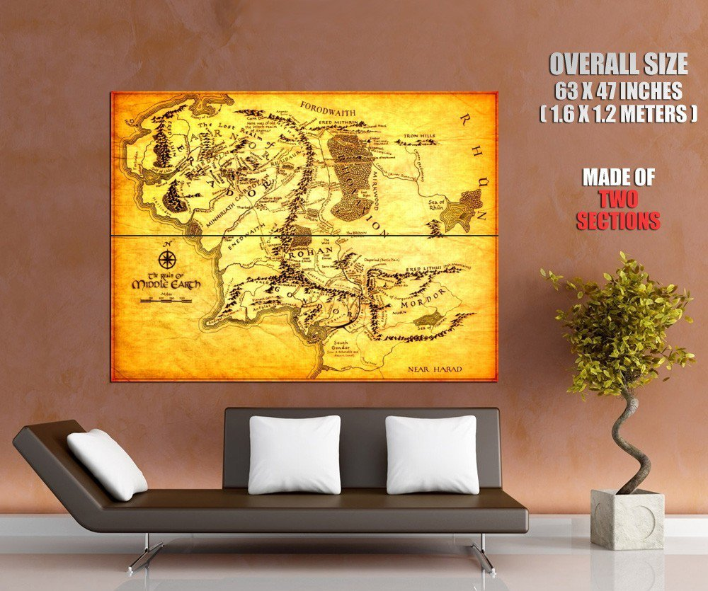 Map Of Middle Earth Lord Of The Rings Huge Giant Print Poster