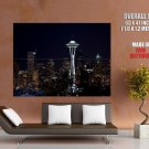 Seattle Night Skyline Space Needle Around The World Huge Giant Poster
