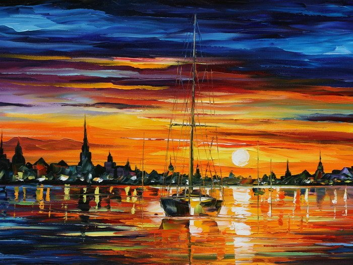 Calm Sunset Leonid Afremov Painting 24x18 Print Poster