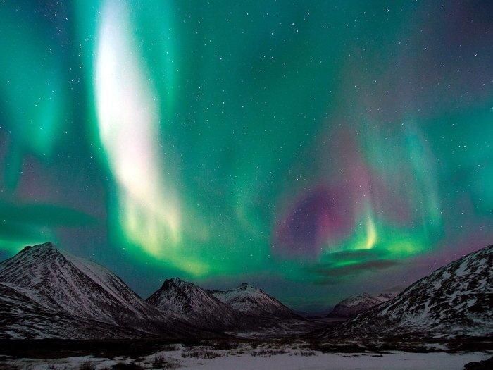 Mountains Polar Aurora Glow Stars Nature 16x12 Print Poster