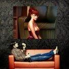 Hot Redhead Girl Big Boobs Rendering Art Huge 47x35 Print POSTER