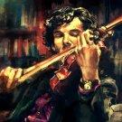 Sherlock Violin Portrait Painting Art 32x24 Print Poster