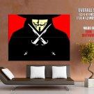 V For Vendetta Guy Fawkes Vector Art Huge Giant Print Poster