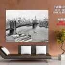 New York City Brooklyn Bridge Ny Retro Huge Giant Print Poster