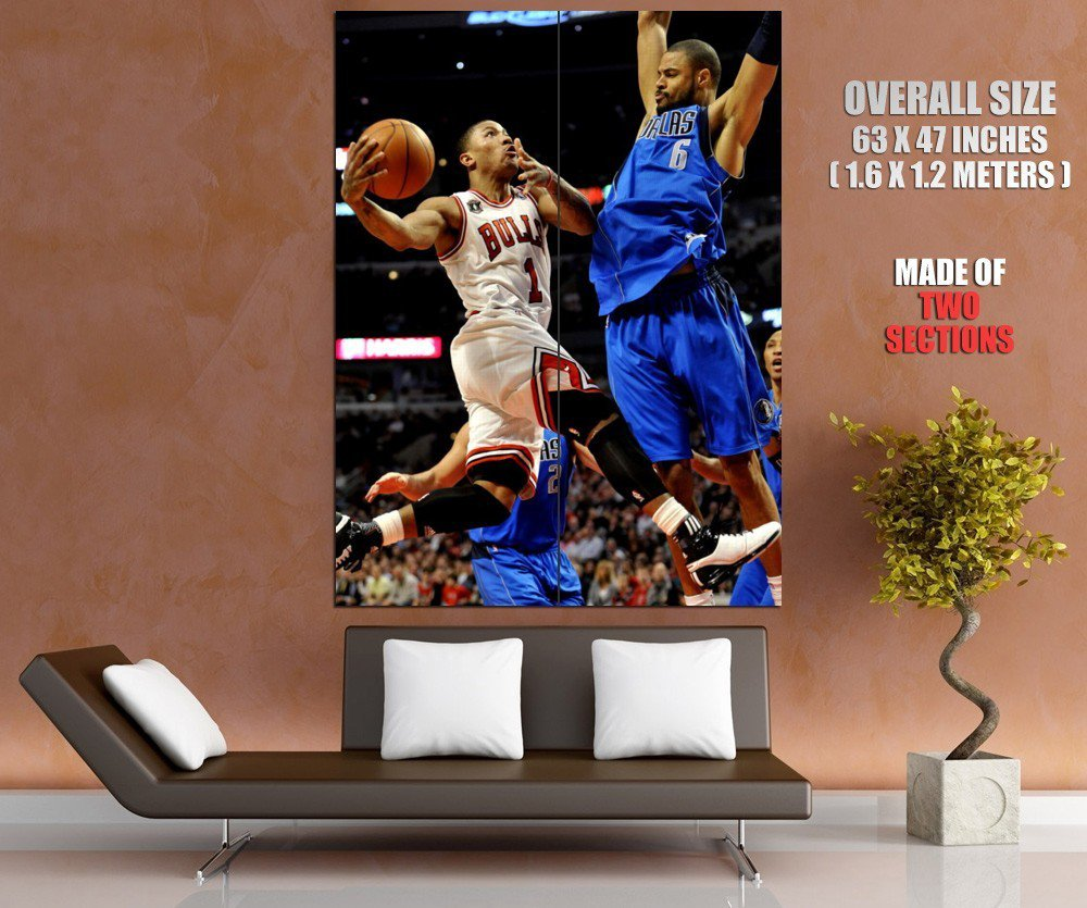 Derrick Rose Layup Vs Dallas Nba Huge Giant Print Poster