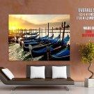 Gondolas Venice Italy Sunset Huge Giant Print Poster