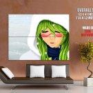 Bleach Snow Cute Girl Green Hair Anime Art Huge Giant Poster