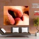 Kiss Sugar Lips Close Lesbian Huge Giant Print Poster