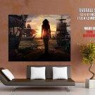 Girl Sunset Sailing Ship Rendering Huge Giant Print Poster