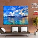 Low Cloud Ocean Coral Reef Landscape Huge Giant Print Poster