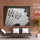 Four Aces Cards Gambling Macro Huge Giant Print Poster