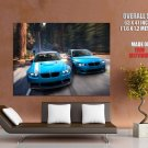 Bmw M3 E92 M5 E60 Blue Car Huge Giant Print Poster